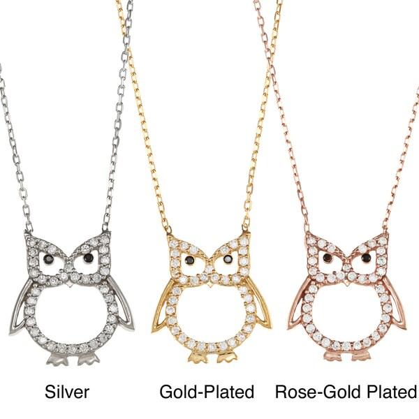 La Preciosa Sterling Silver CZ Owl Outline Necklace