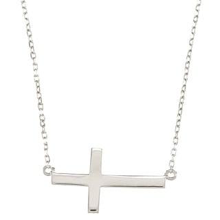 La Preciosa Sterling Silver Sideways Cross Necklace