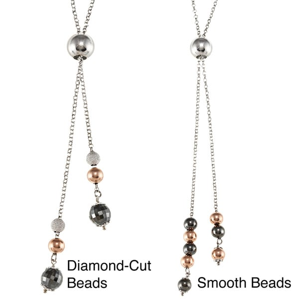 La Preciosa Sterling Silver Adjustable Rose-gold Plated Dangling Beads Necklace