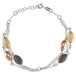 La Preciosa Sterling Silver Multi-chain Black, Gold-plated, and Rose-gold Plated Ovals Bracelet