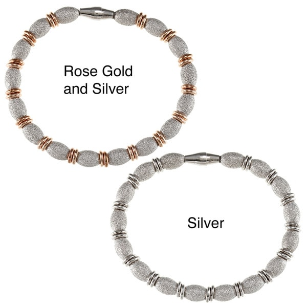 La Preciosa Sterling Silver Diamond-cut Ovals with Double Beads Magnetic Bracelet