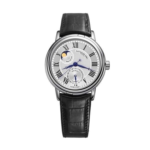 Raymond Weil Men's Maestro Silver Dial Leather Strap Watch