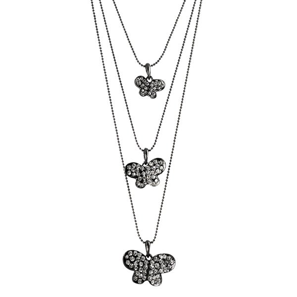 Journee Collection Rhodium-plated Glass Stone Butterfly Necklace