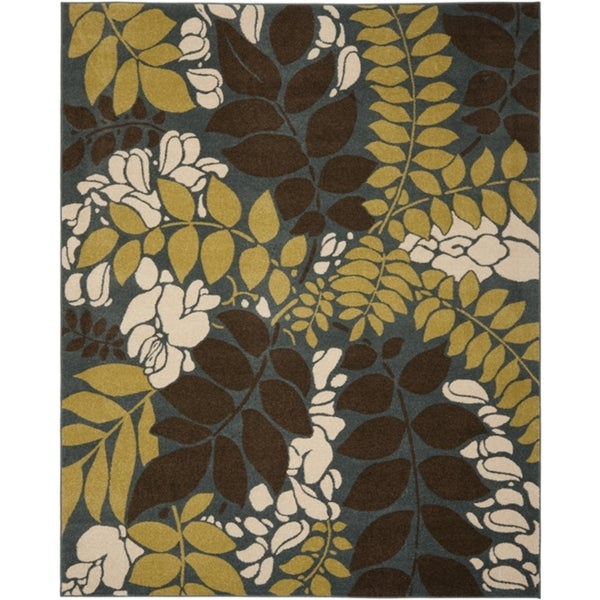 Safavieh Newbury Ferns Blue/ Brown Rug (8' x 10')
