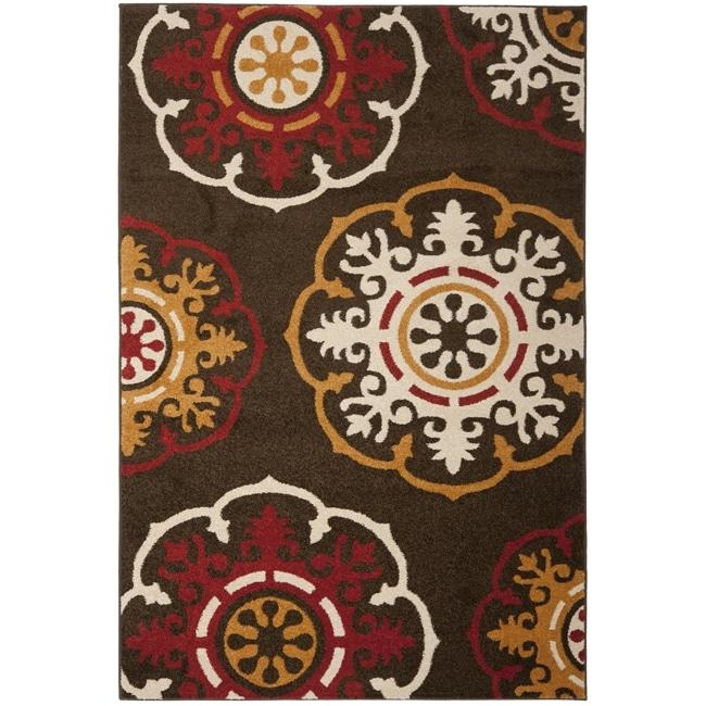Safavieh Newbury Snowfall Brown/ Red Rug (5'1 x 7'6)