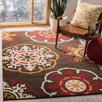 Safavieh Newbury Snowfall Brown/ Red Rug - 5'1 x 7'6