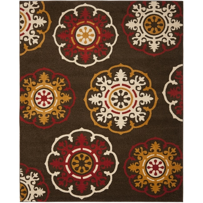 Safavieh Newbury Snowfall Brown/ Red Rug (8' x 10')