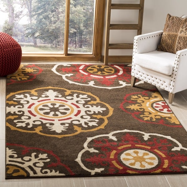 Safavieh Newbury Snowfall Brown/ Red Rug - 8' x 10'