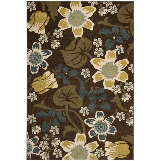 Safavieh Newbury Botanical Brown/ Yellow Rug (5'1 x 7'6)