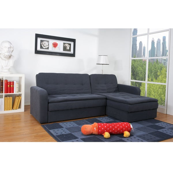 Shop Denver Steel Finish Double Cushion Storage Sectional Sofa Bed ...