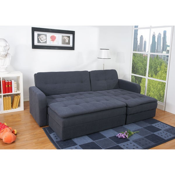 Shop Denver Steel Finish Double Ottoman Sectional Sofa Bed