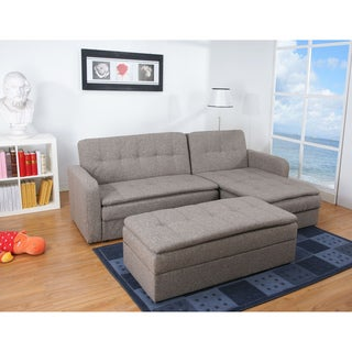 Denver Rind Finish Double Cushion Storage Sectional Sofa Bed and Ottoman Set Overstock