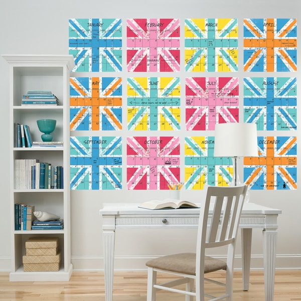 Wall Pops 'Union Jack' 12-piece Dry Erase Calendar Wall Decals Set