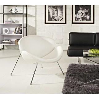 Nutshell White Vinyl Lounge Chair