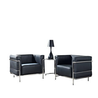 Black Leather Chair and Side Table Set