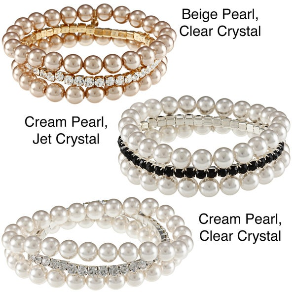 Roman Faux Pearl and Crystal Stretch Bracelet