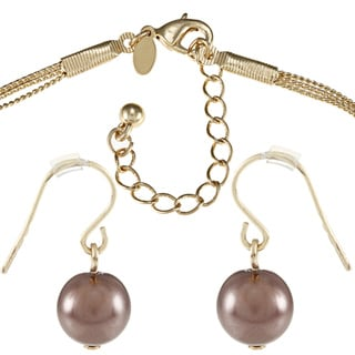 Roman Faux Pearl 3-row Station Necklace and Earring Jewelry Set