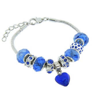 Eternally Haute Blue Sandstone/Silver-plated Antiqued Charm Bracelet