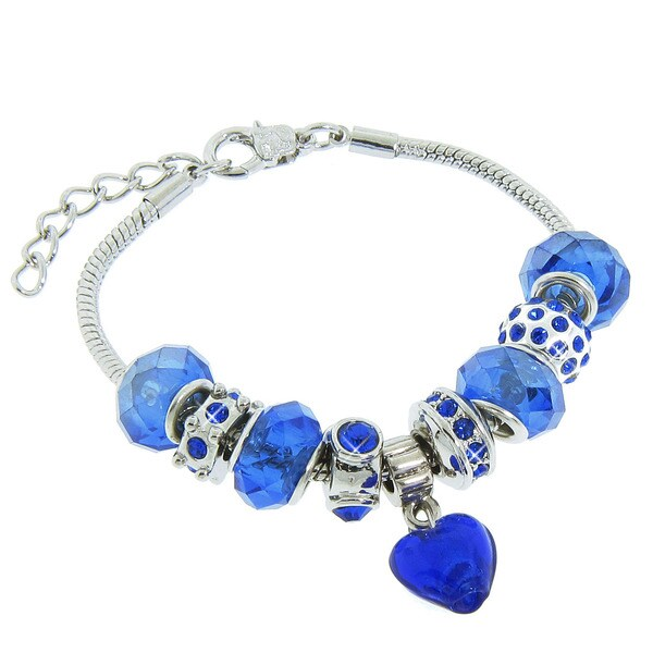 Eternally Haute Blue Sandstone/Silver-plated Antiqued Charm Bracelet