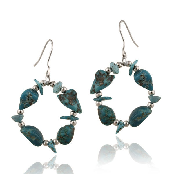 Glitzy Rocks Sterling Silver and Turquoise Dangling Hook Earrings