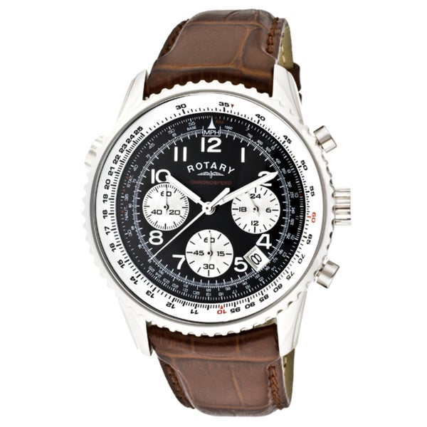 a6af3c31c15 Shop Rotary Men s  Chronospeed  Brown Genuine Leather Watch - Free Shipping  Today - Overstock - 7154568