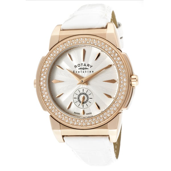 Rotary Women's 'Evolution TZ2' White Genuine Leather Watch
