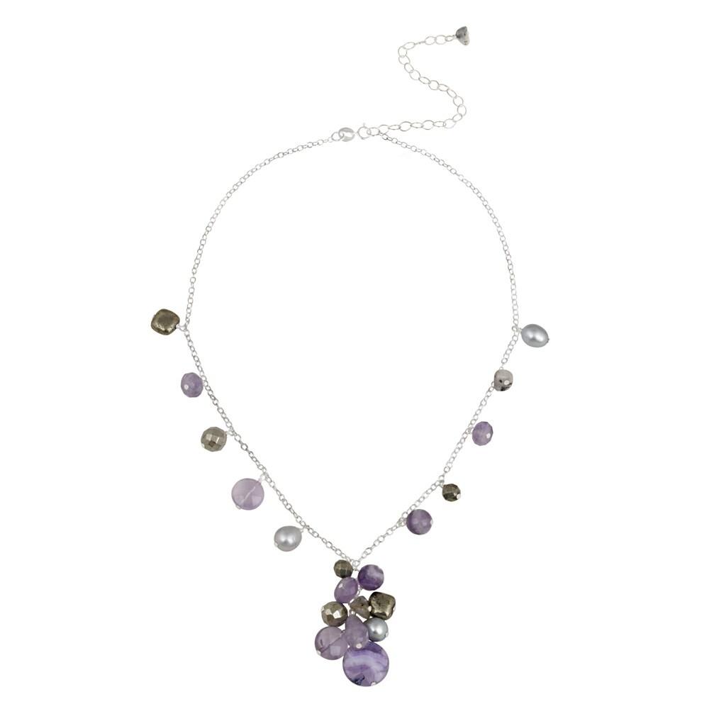 Glitzy Rocks Sterling Silver Multi-gemstone Cluster Necklace