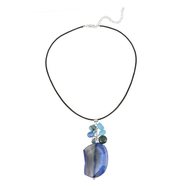 Glitzy Rocks Sterling Silver Multi-gemstone Drop Necklace