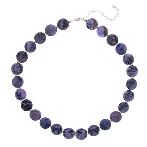 Glitzy Rocks Sterling Silver Amethyst Disc Necklace