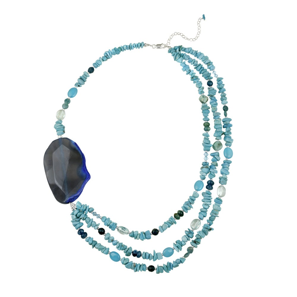 Glitzy Rocks Sterling Silver Multi-gemstone Necklace