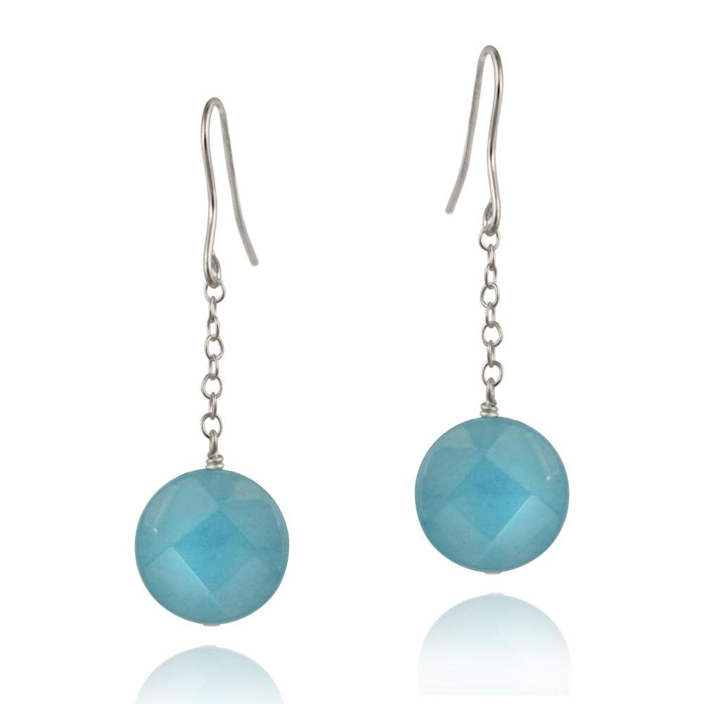 Glitzy Rocks Sterling Silver Blue Quartz Dangling Hook Earrings