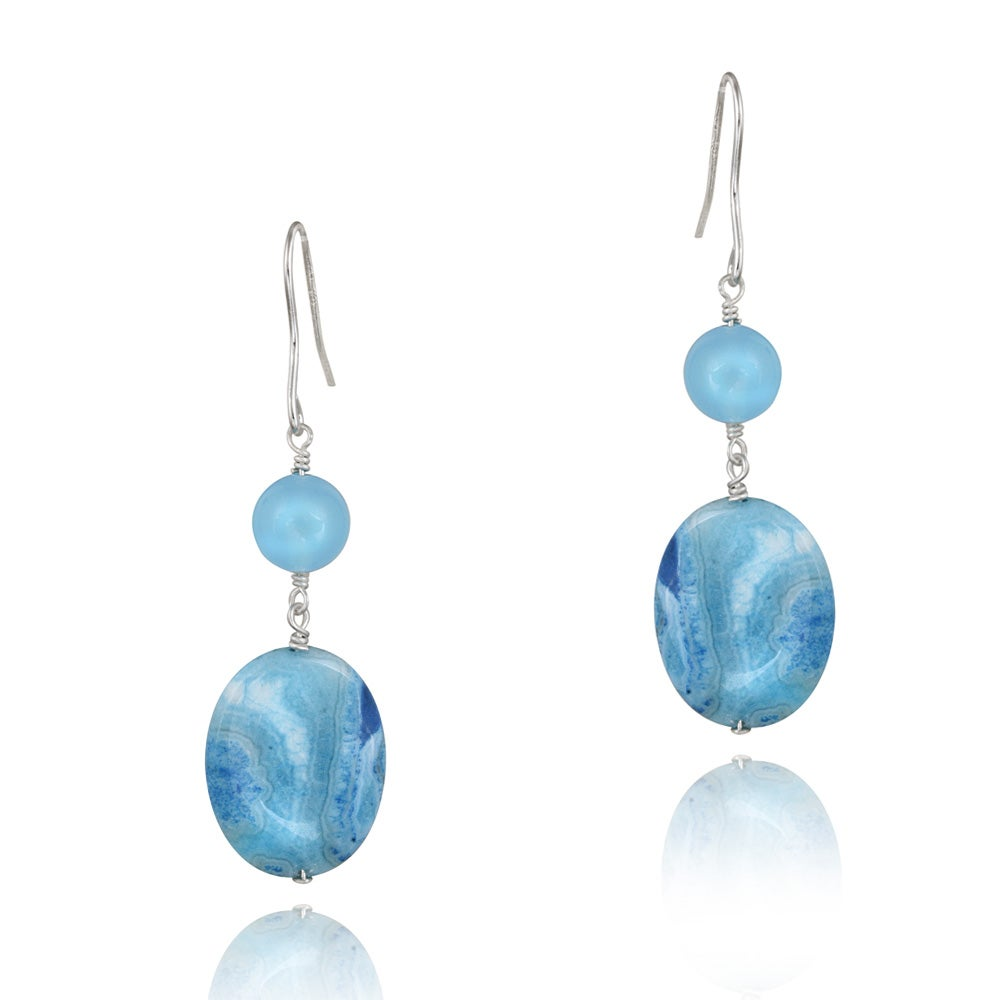 Glitzy Rocks Silver Blue Agate and Blue Quartz Dangling Earrings