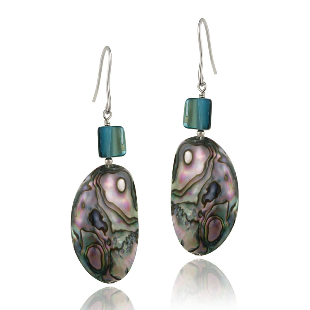Glitzy Rocks Abalone Dangling Earrings