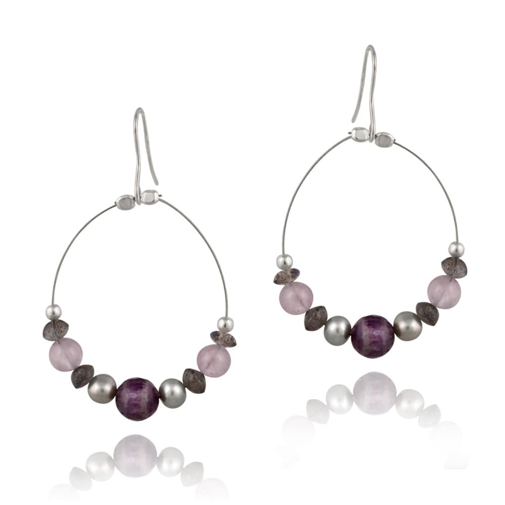Glitzy Rocks Sterling Silver Amethyst Dangling Hook Earrings