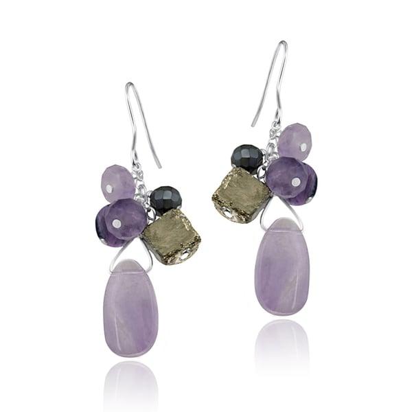 Glitzy Rocks Multi-gemstone Dangling Earrings