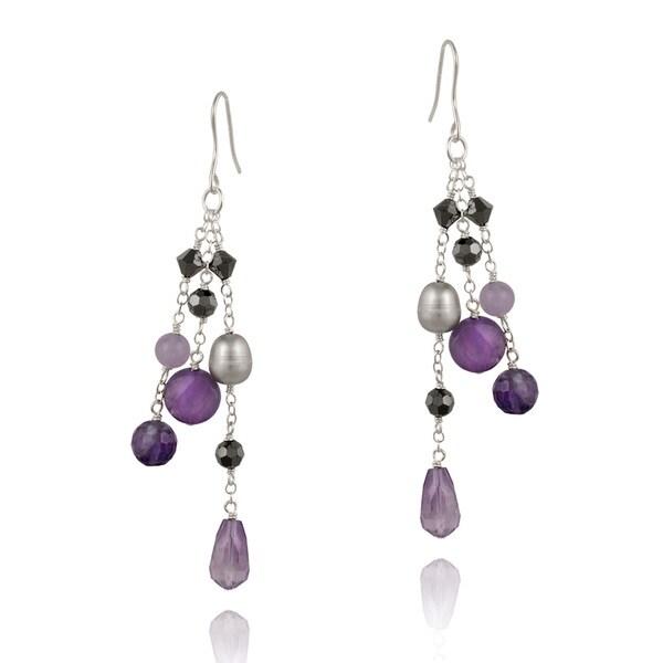 Glitzy Rocks Sterling Silver Multi-gemstone Dangling Earrings