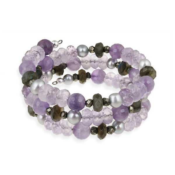 Glitzy Rocks Multi-gemstone Cuff Bangle Bracelet