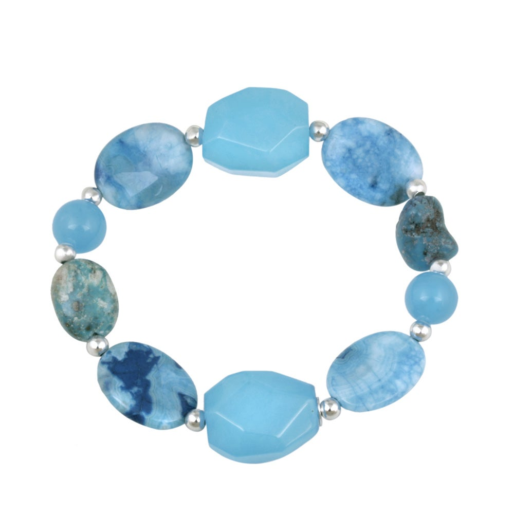 Glitzy Rocks Sterling Silver Lapis and Turquoise Stretch bracelet