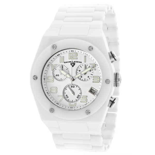 Swiss Legend Men's 'Throttle' White Ceramic Watch