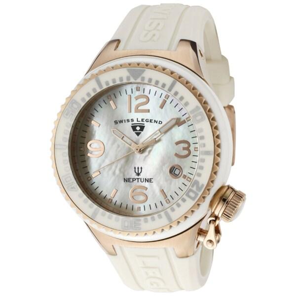 Swiss Legend Unisex 'Neptune Ceramic' Beige Silicone Watch