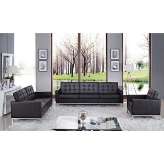 Florence Style Brown Leather Armchair, Loveseat, and Sofa Set