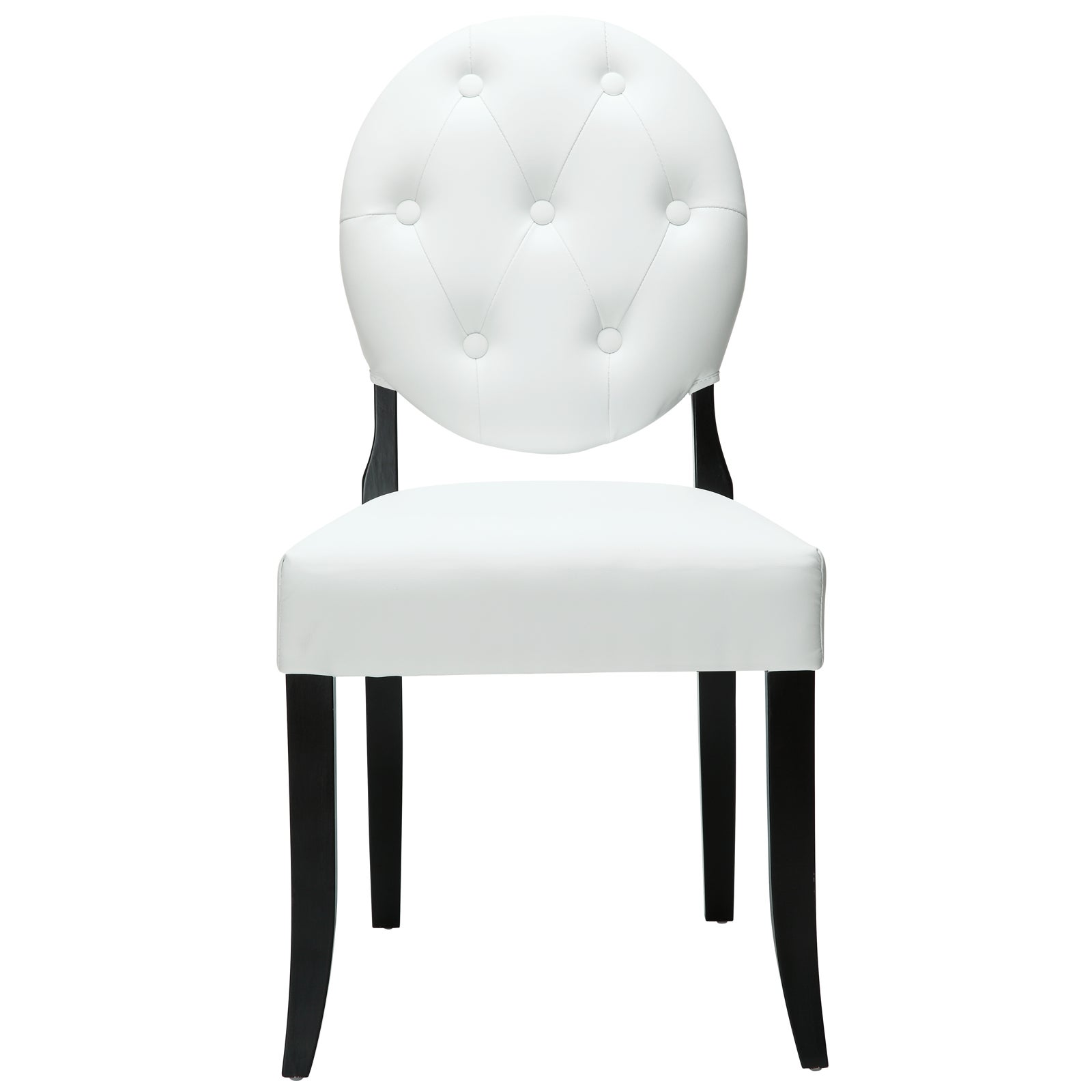 Buttoned White Vinyl Black Legs Ghost Chair