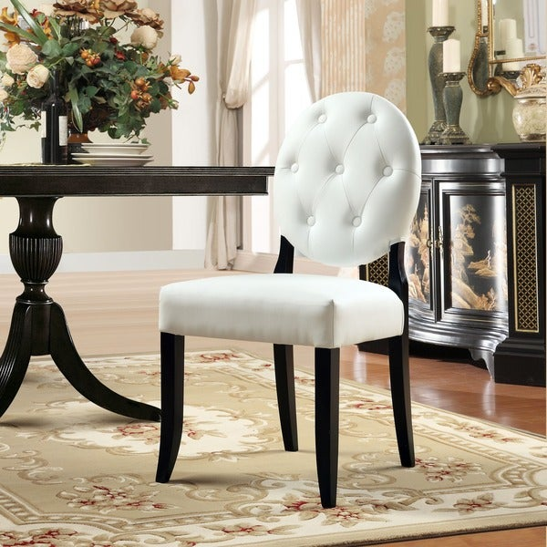 Buttoned White Vinyl Black Legs Clear Chair