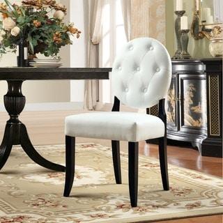 Buttoned White Vinyl Black Legs Ghost Chair