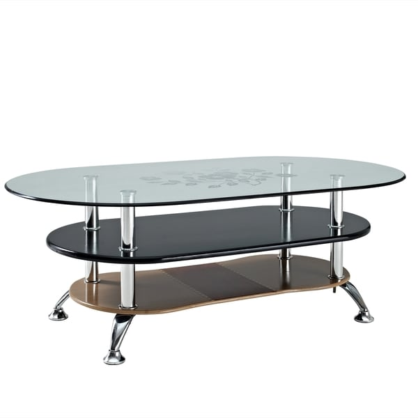 Absolute 3-tiered Modern Glass Top Accent Table