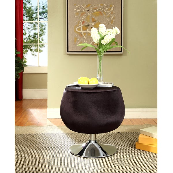 Occasional Chocolate Microfiber Swivel Stool