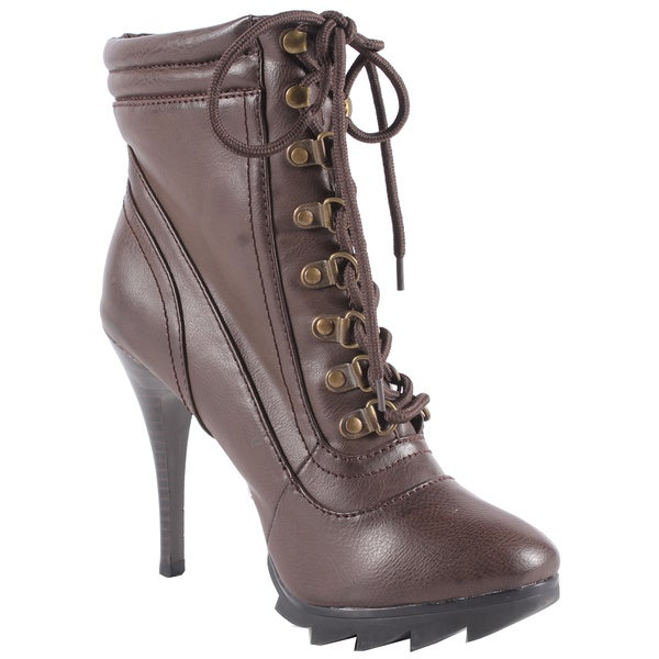Jacobies by Beston Women's 'Tina-1' Stiletto Brown Lace-Up Bootie