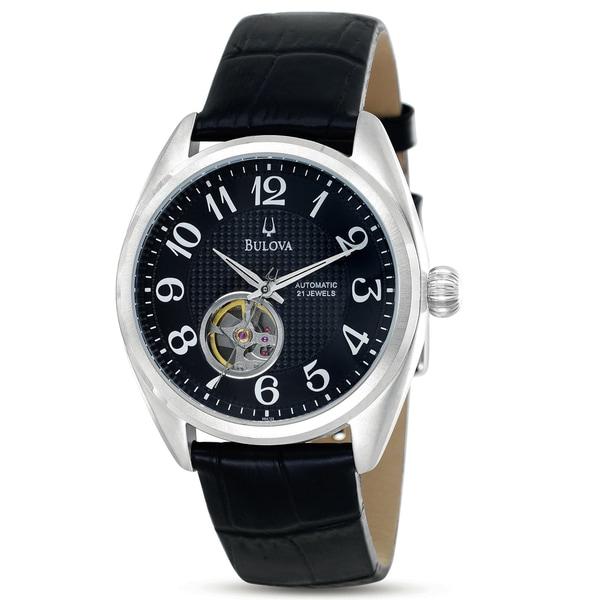 Bulova Men's Mechanical Black Dial Skeleton Window Automatic Watch
