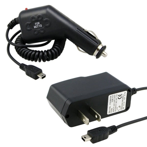 BasAcc Travel Charger/ Car Charger for Garmin nuvi GPS 205w/ 250/ 255w