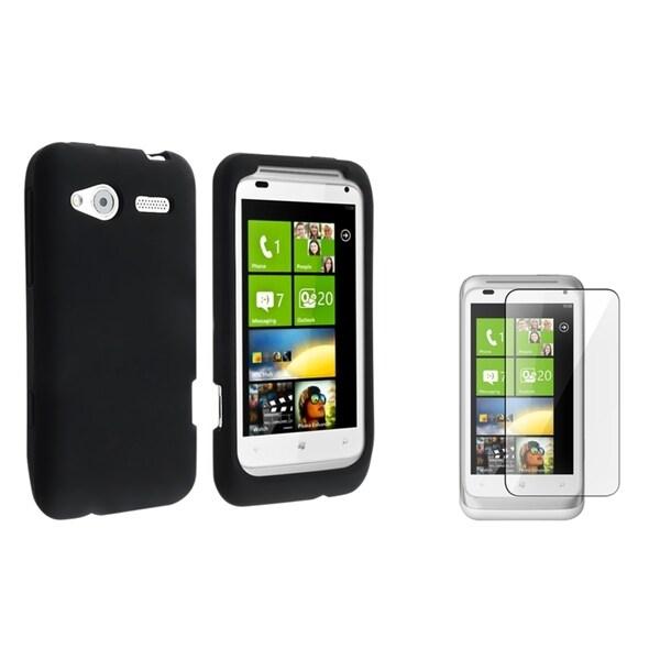 BasAcc Black Silicone Case/ Screen Protector for HTC Radar 4G